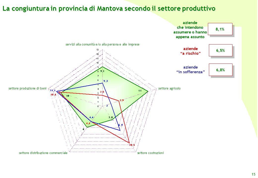 La congiuntura in provincia di Mantova secondo il settore produttivo
