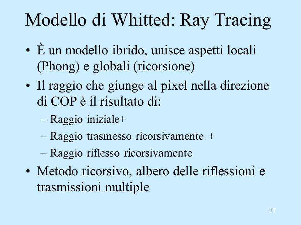Modello di Whitted: Ray Tracing