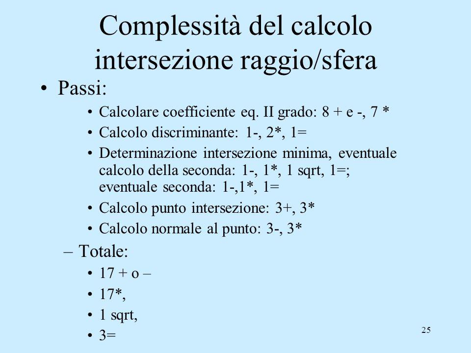 Complessità del calcolo intersezione raggio/sfera