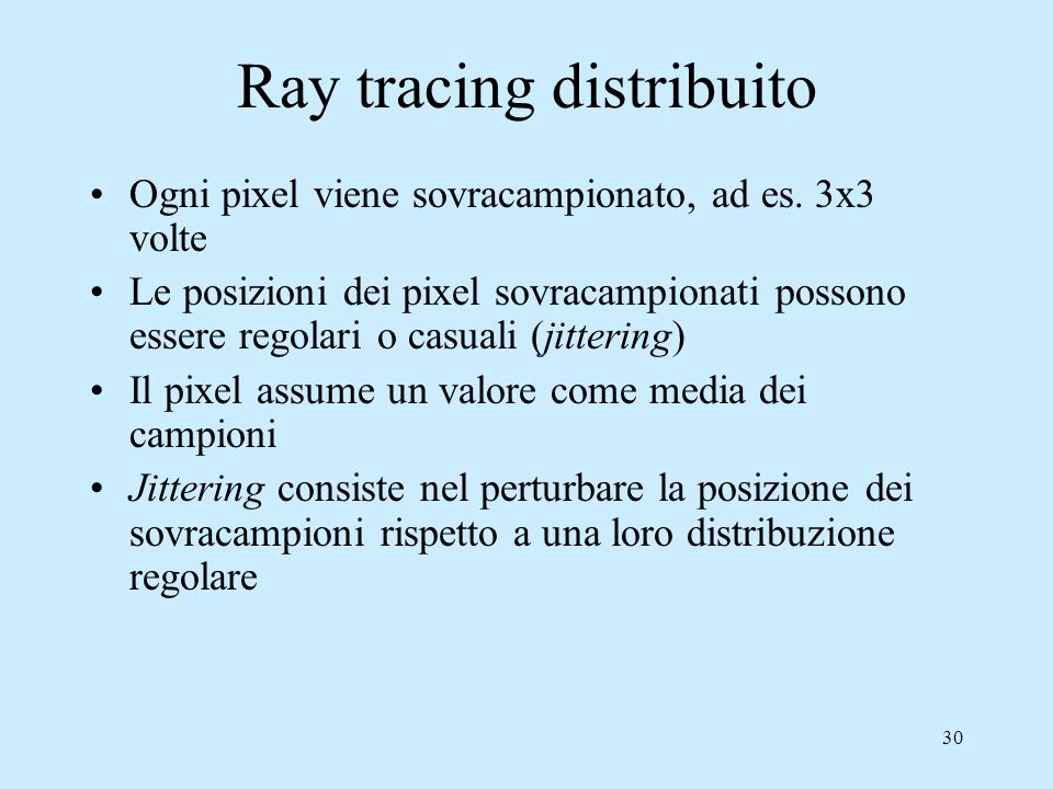 Ray tracing distribuito