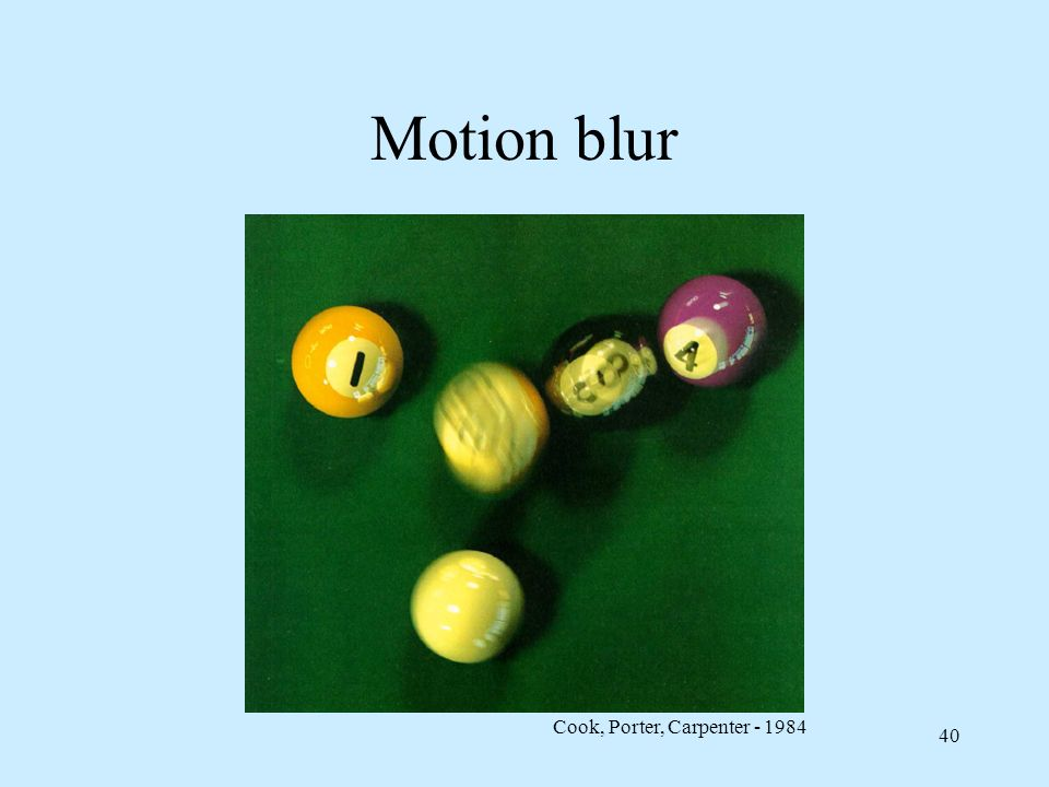 Motion blur Cook, Porter, Carpenter - 1984