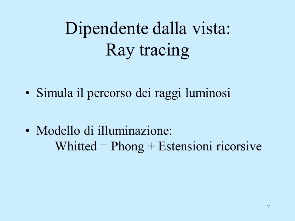 Dipendente dalla vista: Ray tracing
