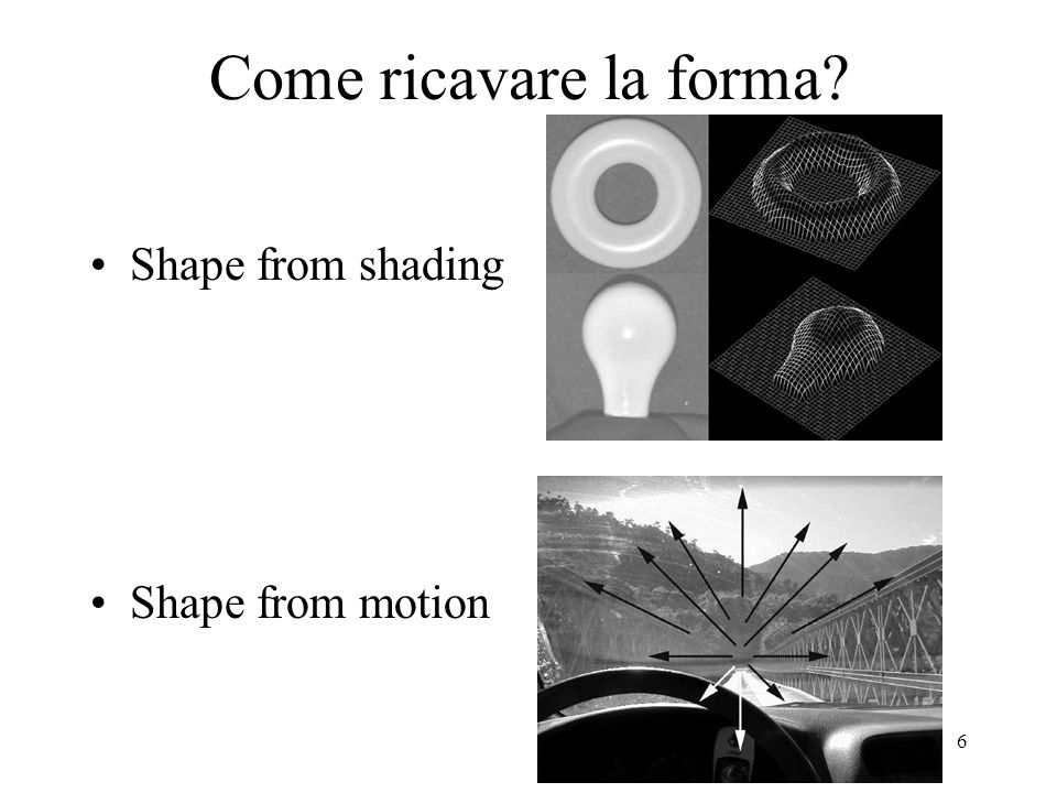 Come ricavare la forma Shape from shading Shape from motion
