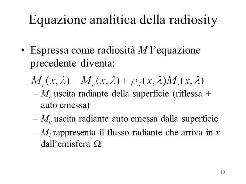Equazione analitica della radiosity