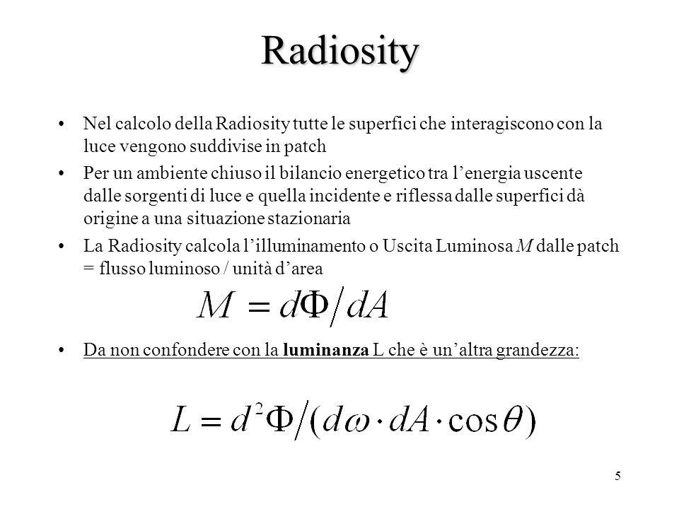 Radiosity Nel calcolo della Radiosity tutte le superfici che interagiscono con la luce vengono suddivise in patch.