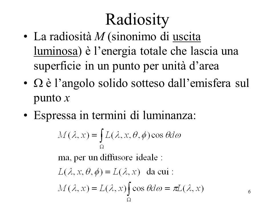 Radiosity La radiosità M (sinonimo di uscita luminosa) è l'energia totale che lascia una superficie in un punto per unità d'area.