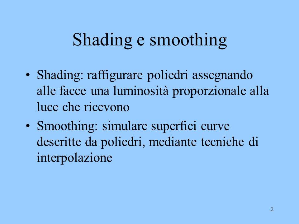 Shading e smoothing Shading: raffigurare poliedri assegnando alle facce una luminosità proporzionale alla luce che ricevono.