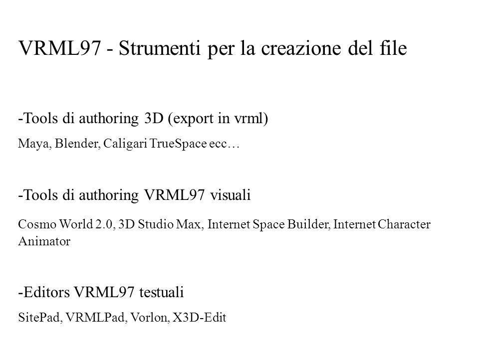 VRML97 - Strumenti per la creazione del file