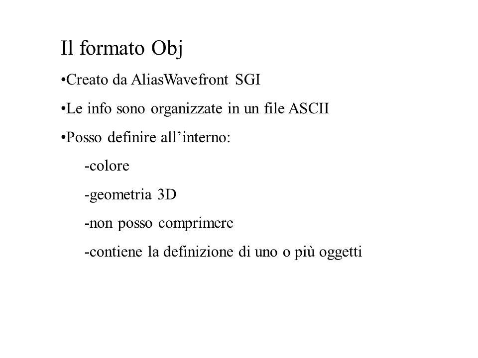 Il formato Obj Creato da AliasWavefront SGI