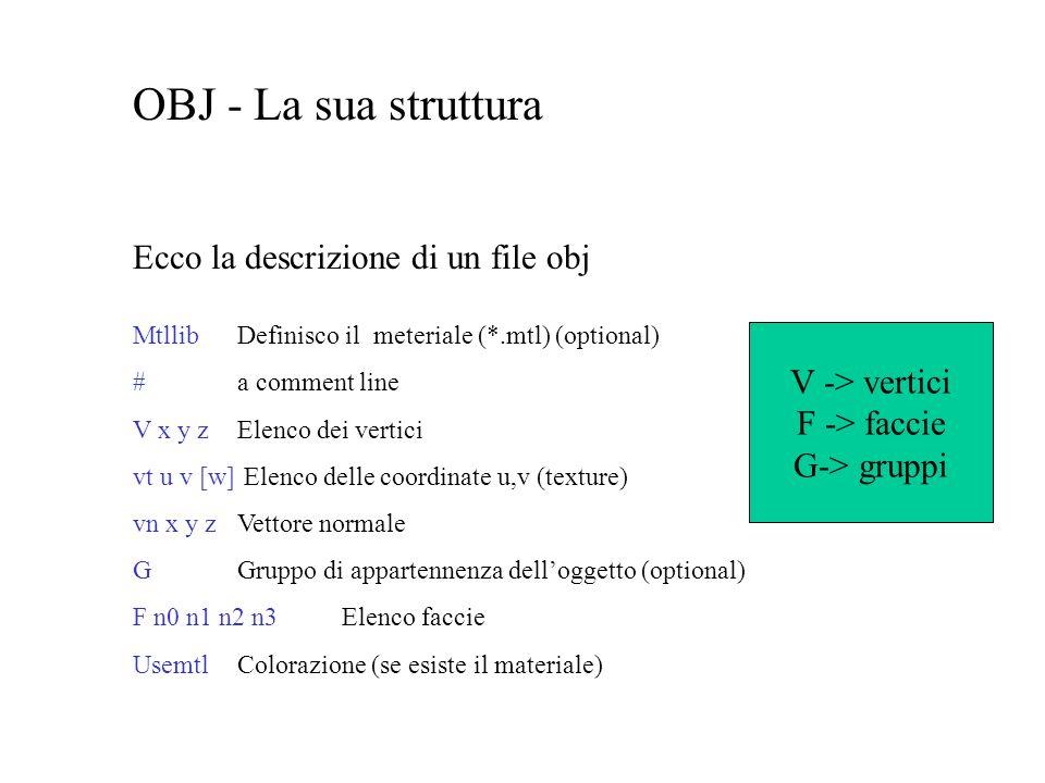 OBJ - La sua struttura Ecco la descrizione di un file obj