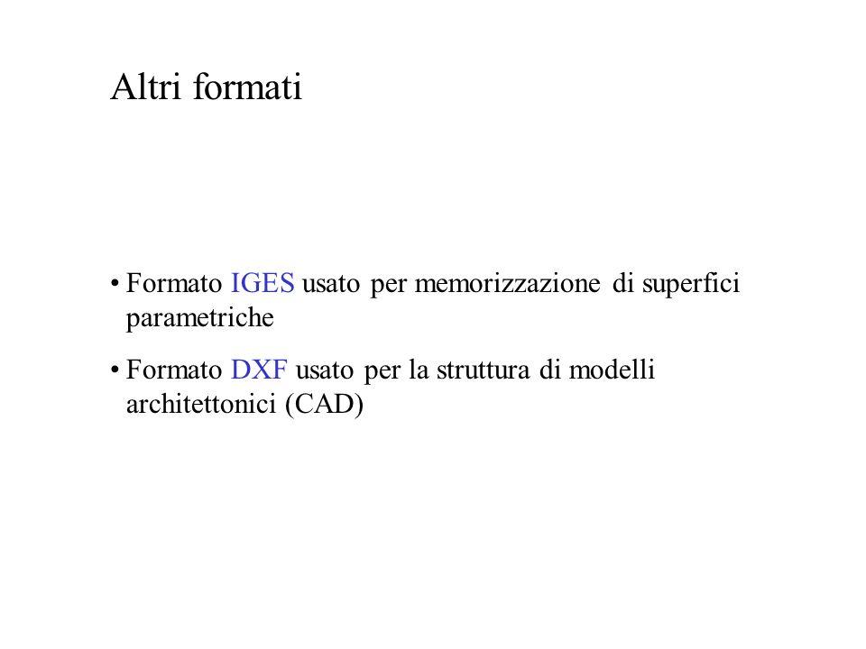 Altri formati Formato IGES usato per memorizzazione di superfici parametriche.