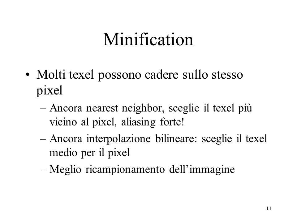 Minification Molti texel possono cadere sullo stesso pixel