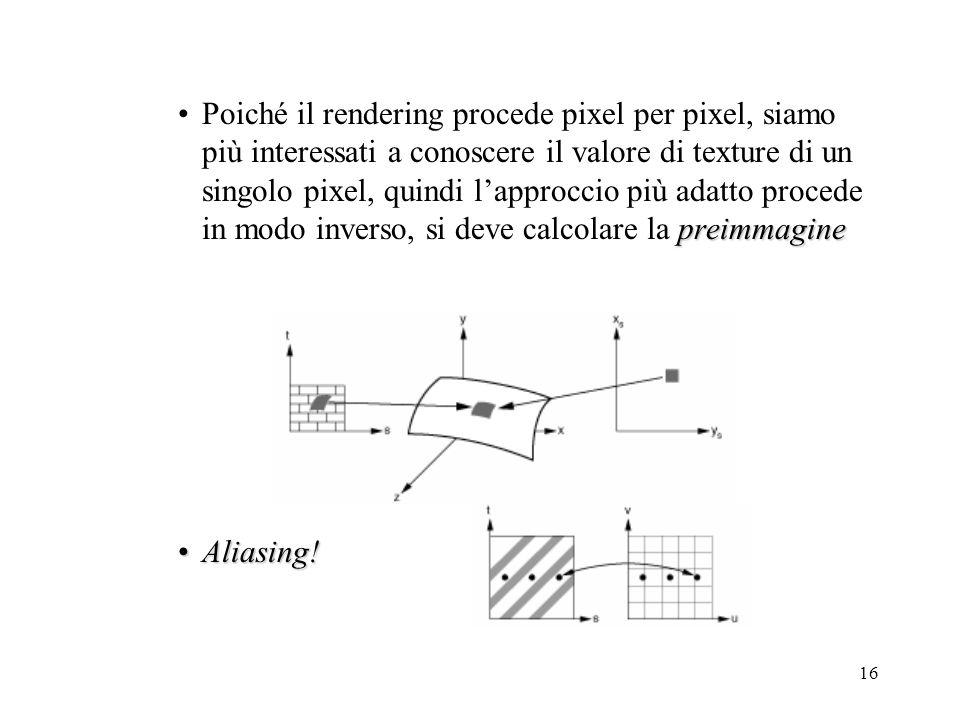 Poiché il rendering procede pixel per pixel, siamo più interessati a conoscere il valore di texture di un singolo pixel, quindi l'approccio più adatto procede in modo inverso, si deve calcolare la preimmagine