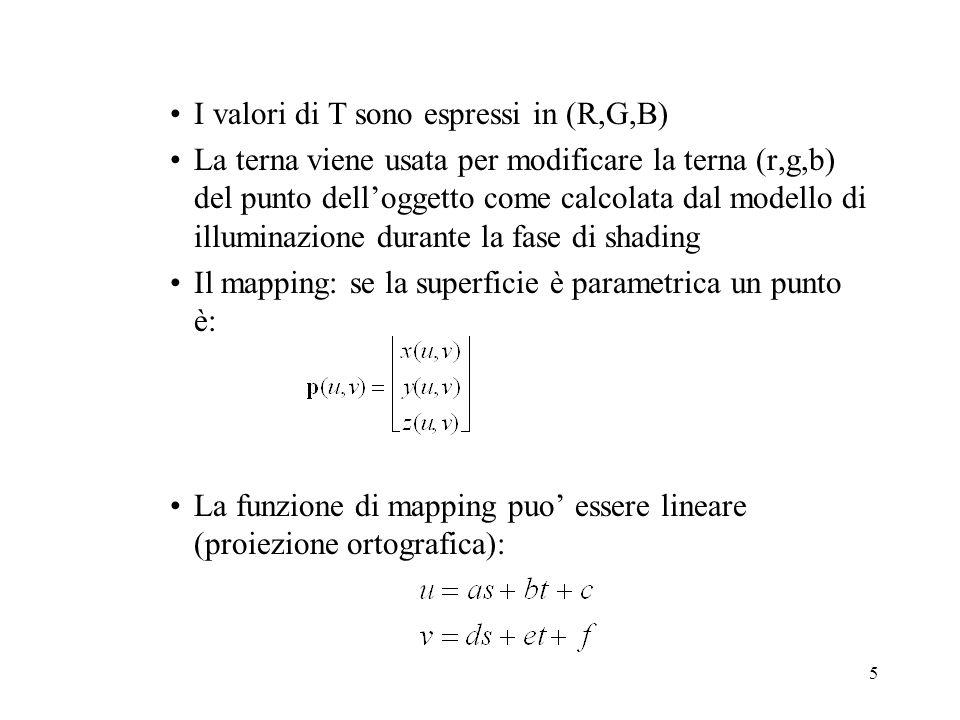 I valori di T sono espressi in (R,G,B)
