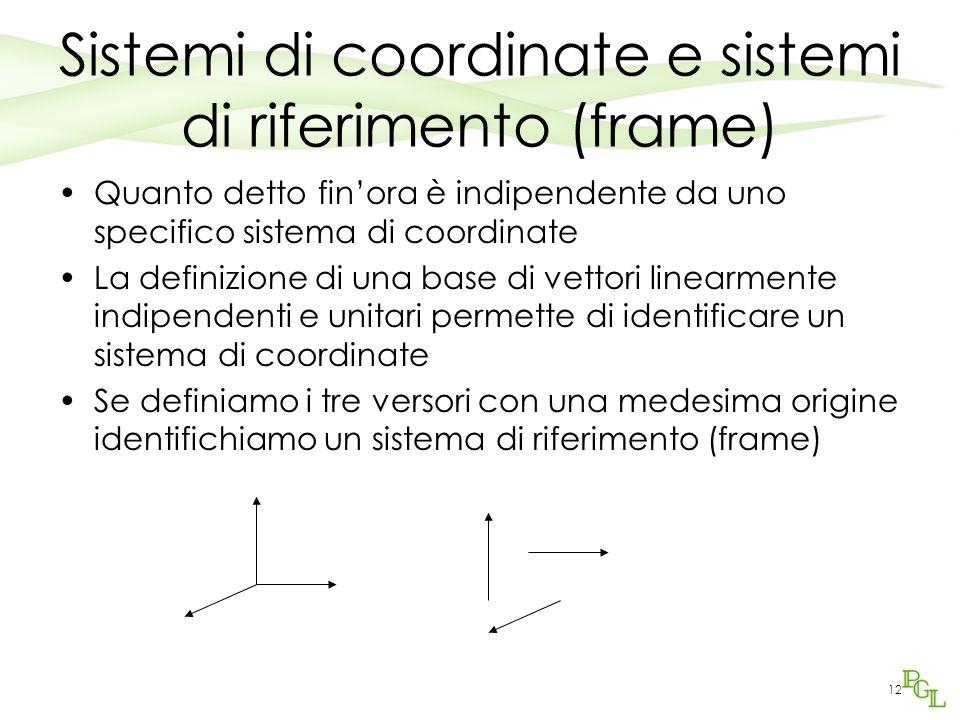 Sistemi di coordinate e sistemi di riferimento (frame)