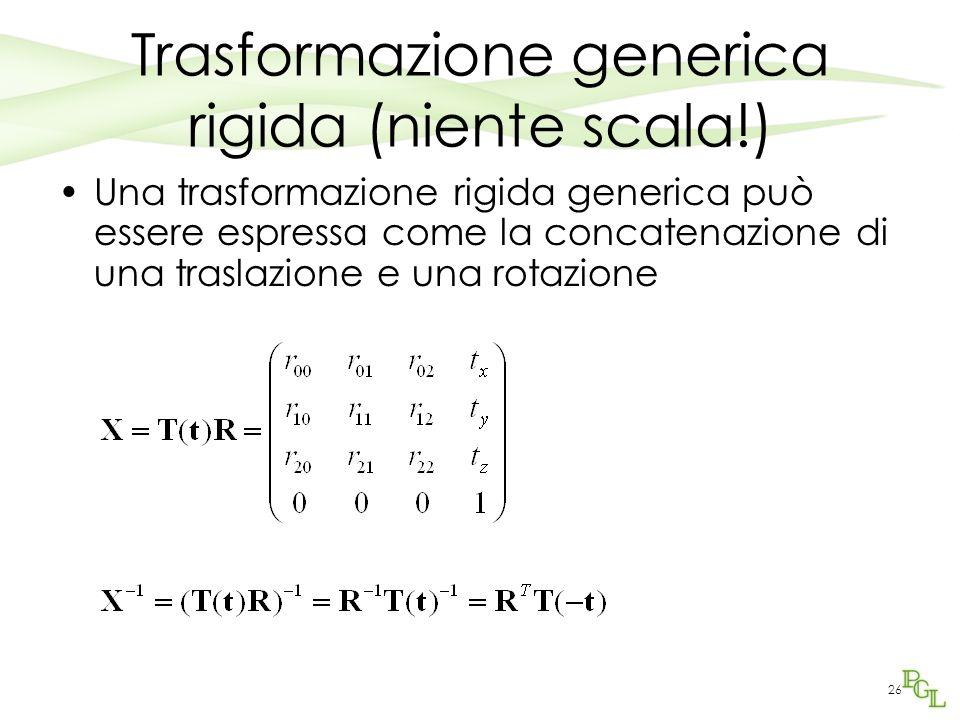 Trasformazione generica rigida (niente scala!)