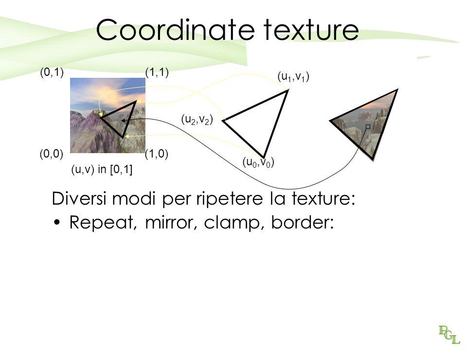 Coordinate texture Diversi modi per ripetere la texture:
