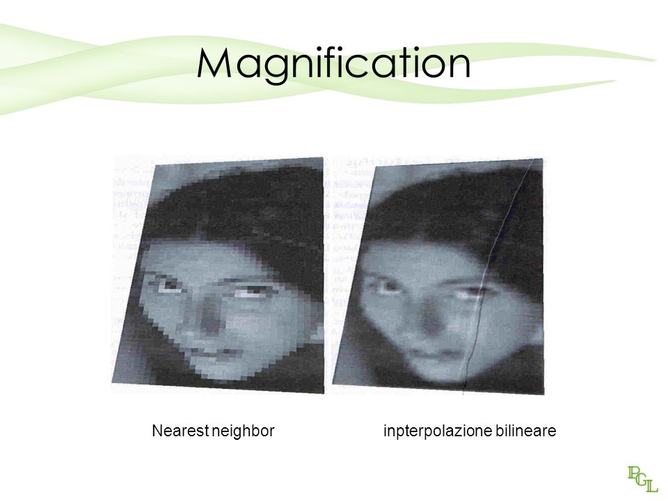 Magnification Nearest neighbor inpterpolazione bilineare