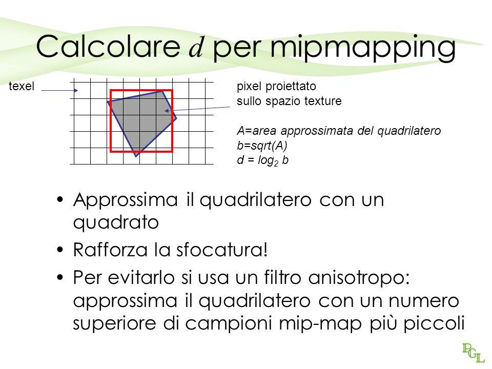 Calcolare d per mipmapping
