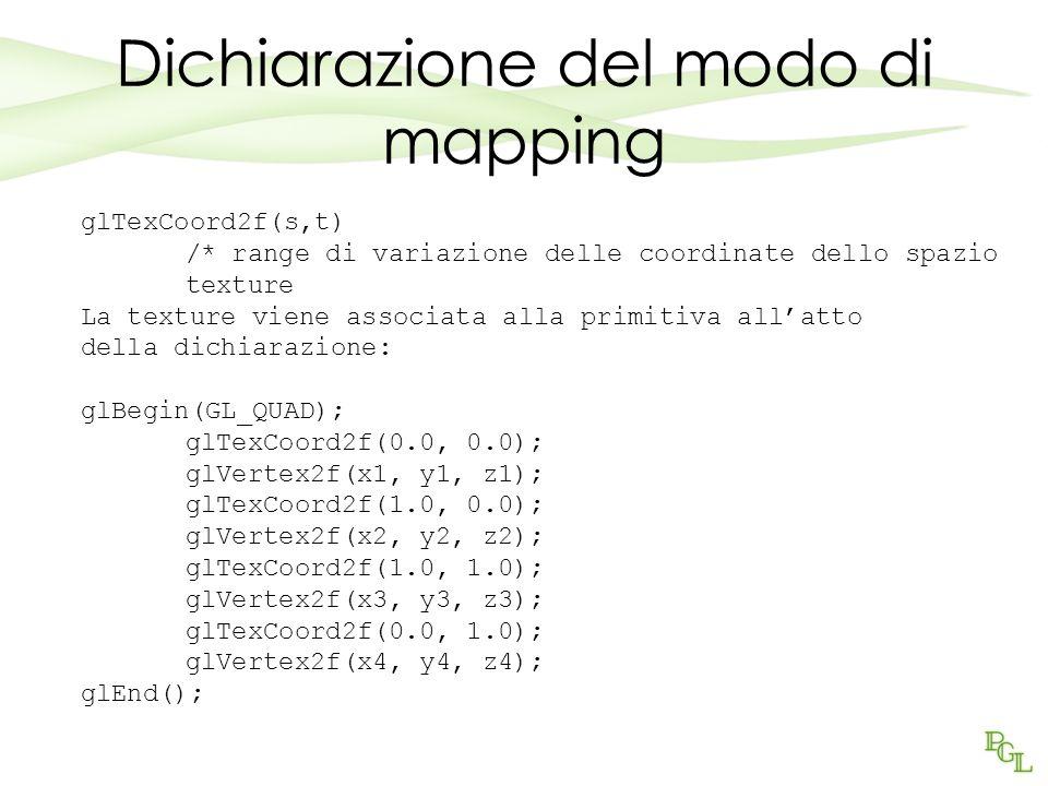 Dichiarazione del modo di mapping