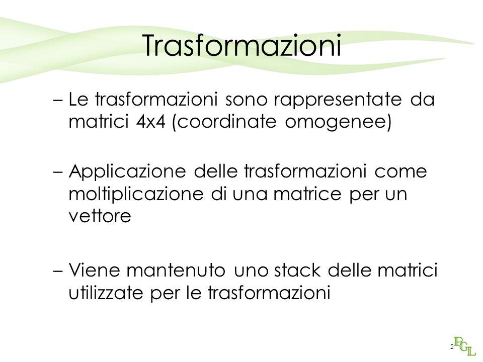 Trasformazioni Le trasformazioni sono rappresentate da matrici 4x4 (coordinate omogenee)