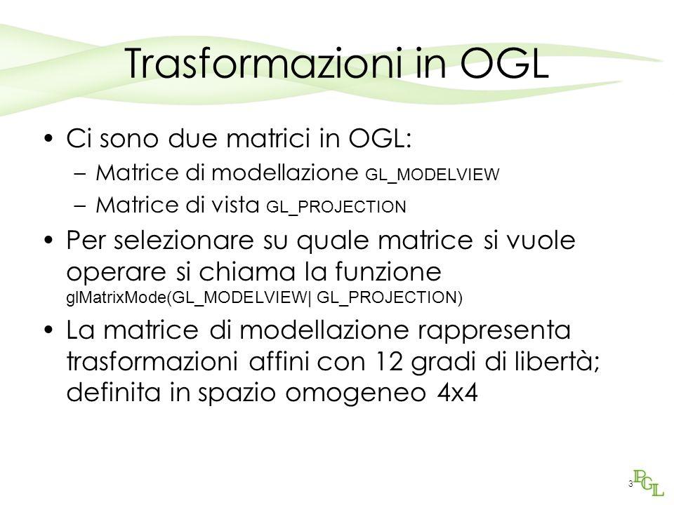Trasformazioni in OGL Ci sono due matrici in OGL: