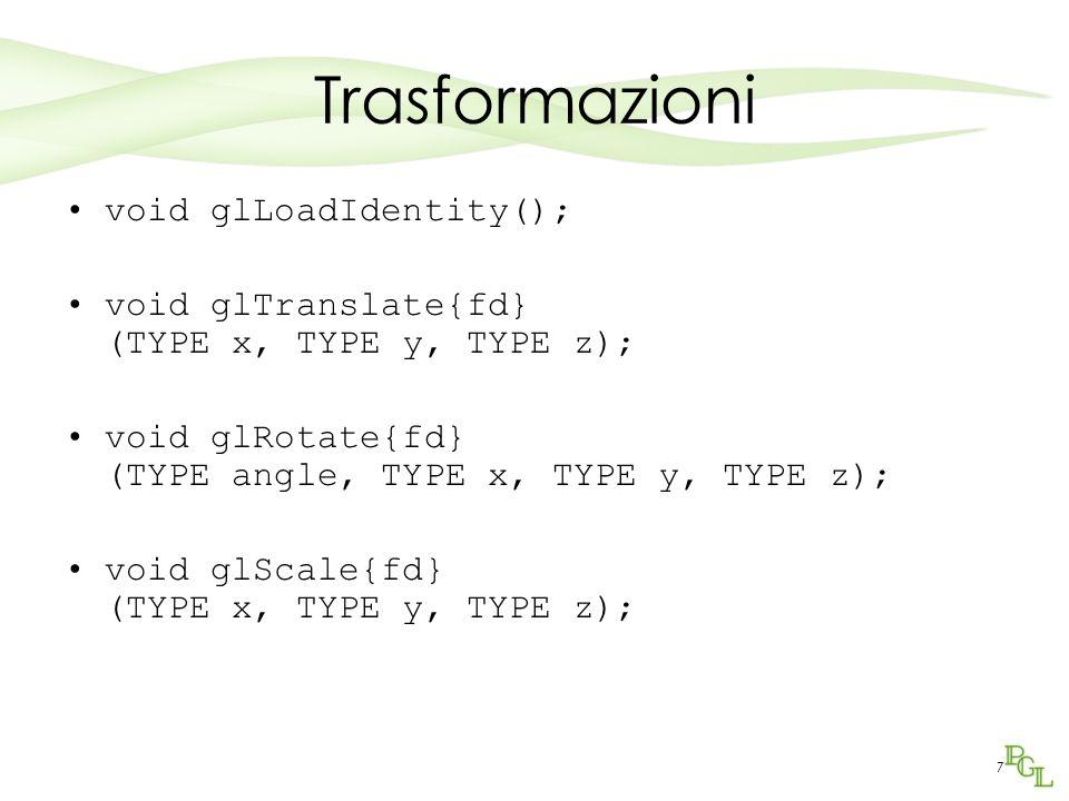 Trasformazioni void glLoadIdentity();