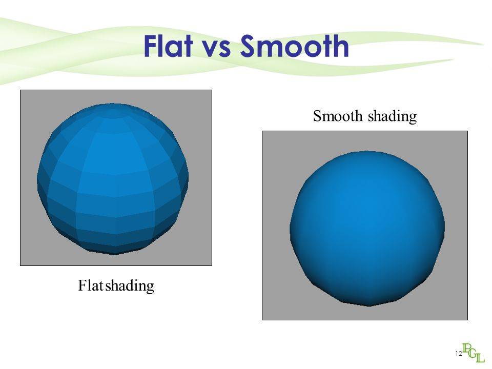 Flat vs Smooth Smooth shading Flat shading