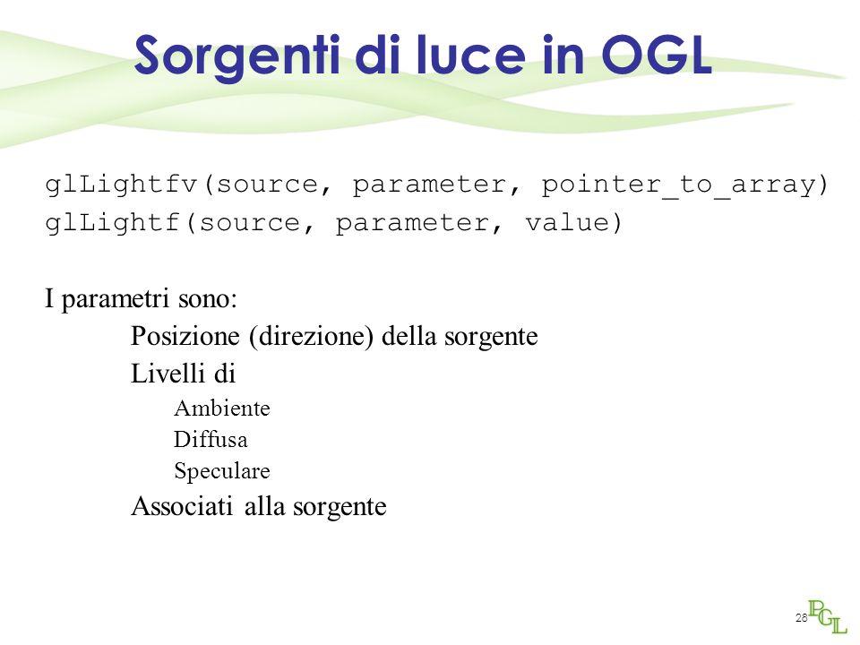 Sorgenti di luce in OGL glLightfv(source, parameter, pointer_to_array)