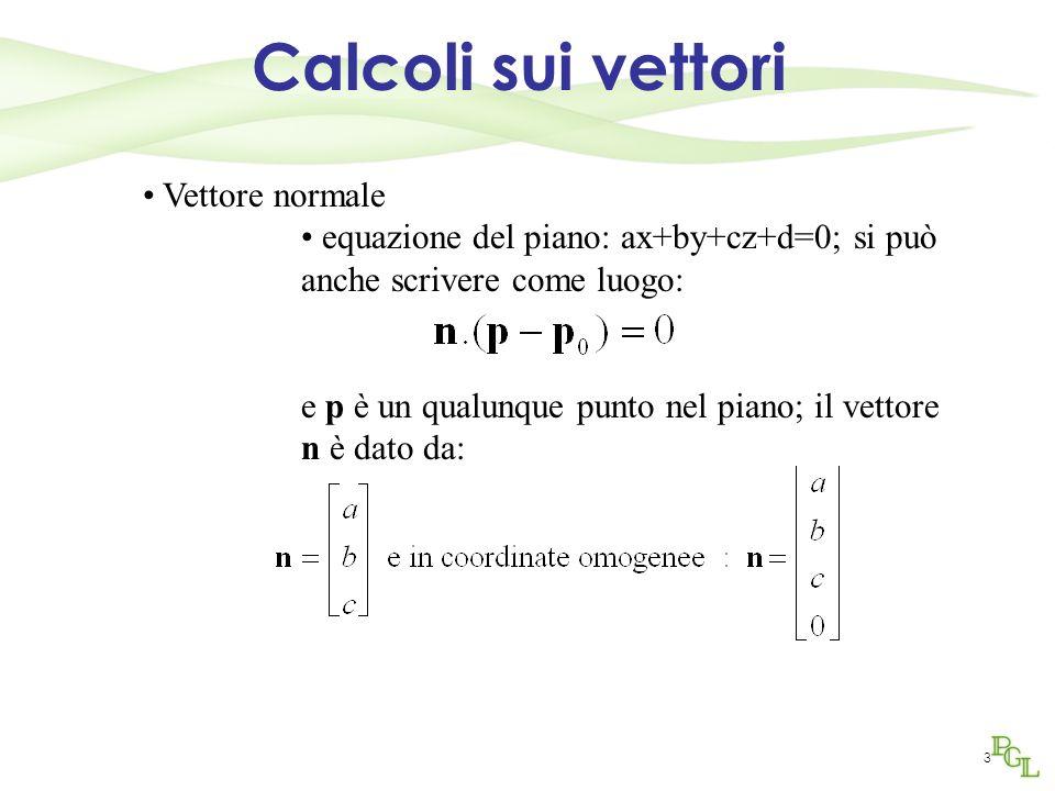 Calcoli sui vettori Vettore normale