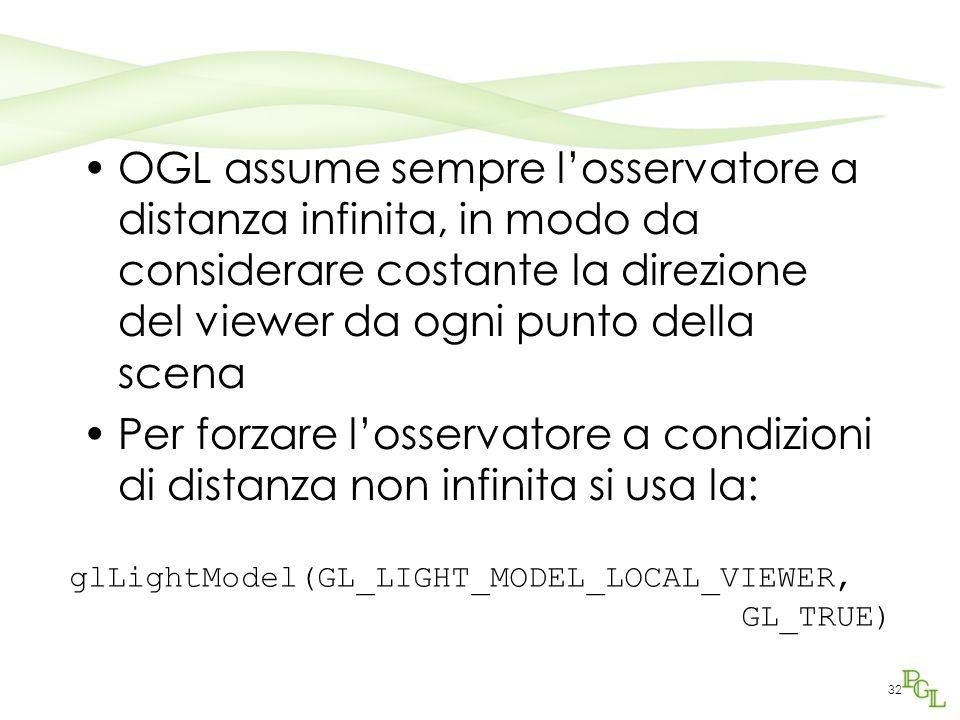 OGL assume sempre l'osservatore a distanza infinita, in modo da considerare costante la direzione del viewer da ogni punto della scena