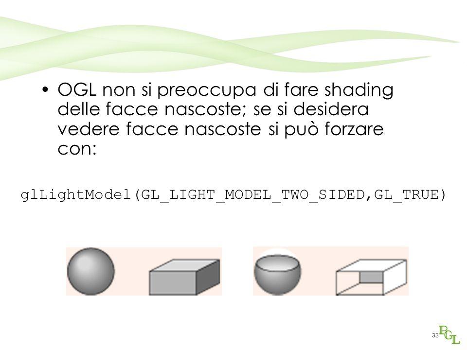 OGL non si preoccupa di fare shading delle facce nascoste; se si desidera vedere facce nascoste si può forzare con: