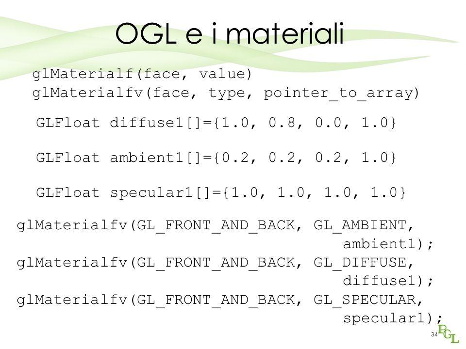 OGL e i materiali glMaterialf(face, value)
