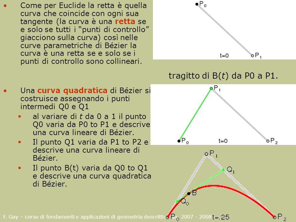Come per Euclide la retta è quella curva che coincide con ogni sua tangente (la curva è una retta se e solo se tutti i punti di controllo giacciono sulla curva) così nelle curve parametriche di Bézier la curva è una retta se e solo se i punti di controllo sono collineari.