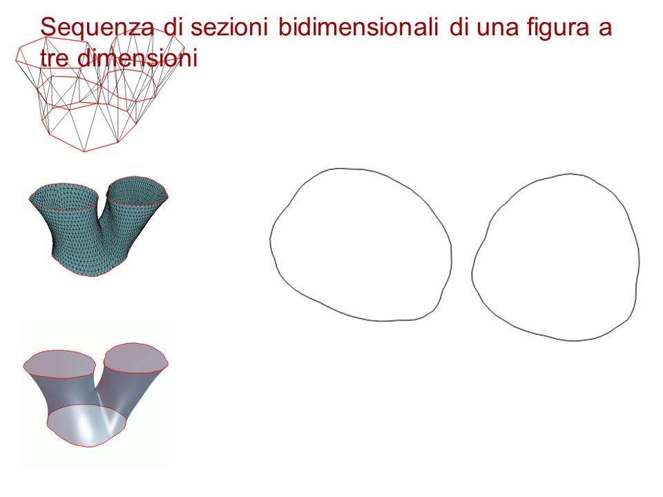 Sequenza di sezioni bidimensionali di una figura a tre dimensioni