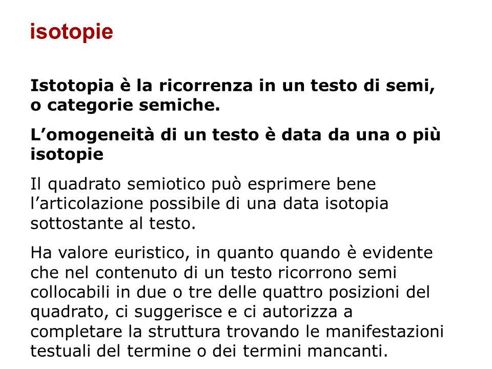 isotopieIstotopia è la ricorrenza in un testo di semi, o categorie semiche. L'omogeneità di un testo è data da una o più isotopie.