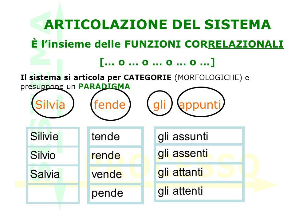ARTICOLAZIONE DEL SISTEMA È l'insieme delle FUNZIONI CORRELAZIONALI