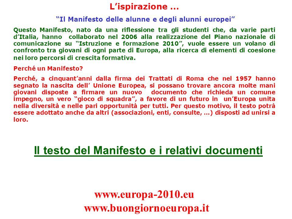 Il Manifesto delle alunne e degli alunni europei