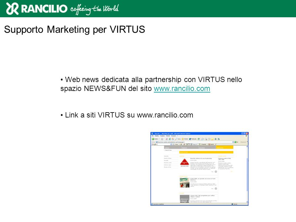 Supporto Marketing per VIRTUS