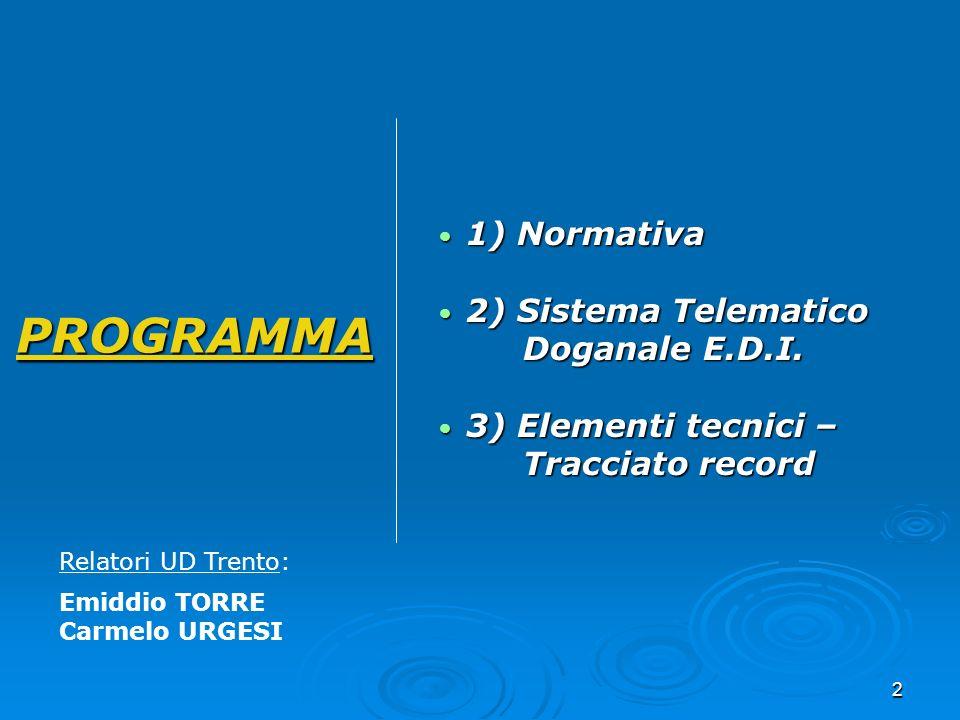 PROGRAMMA 1) Normativa 2) Sistema Telematico Doganale E.D.I.