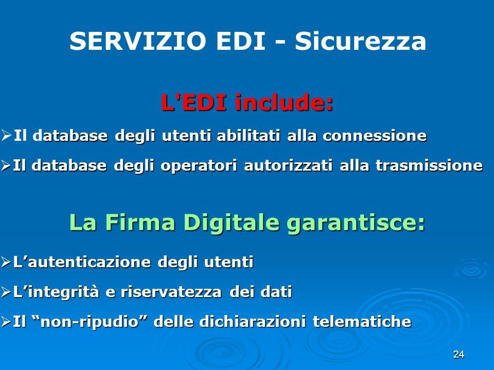 SERVIZIO EDI - Sicurezza La Firma Digitale garantisce: