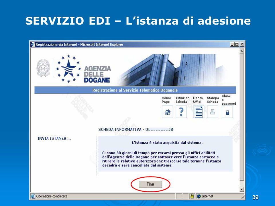 SERVIZIO EDI – L'istanza di adesione
