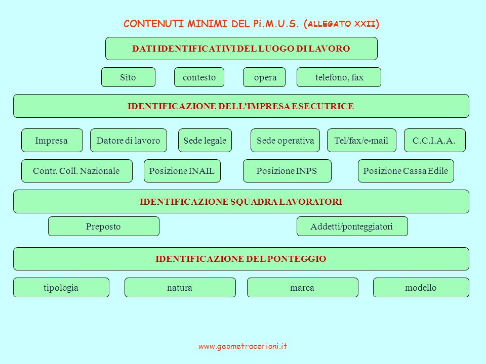 CONTENUTI MINIMI DEL Pi.M.U.S. (ALLEGATO XXII)