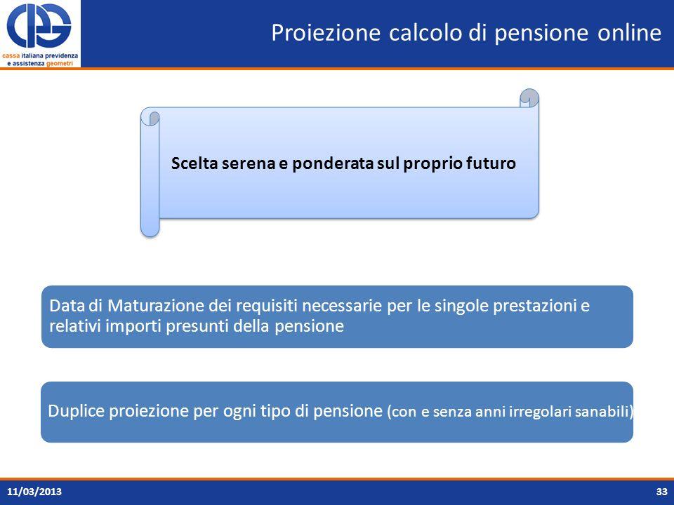 Proiezione calcolo di pensione online