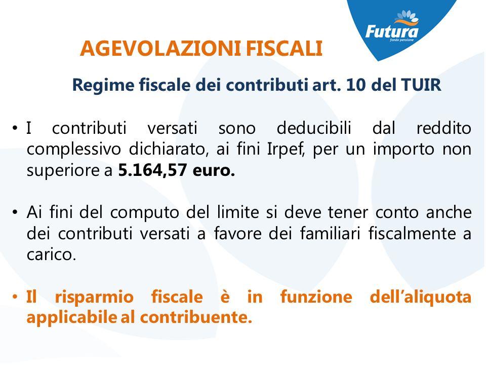 AGEVOLAZIONI FISCALI Regime fiscale dei contributi art. 10 del TUIR