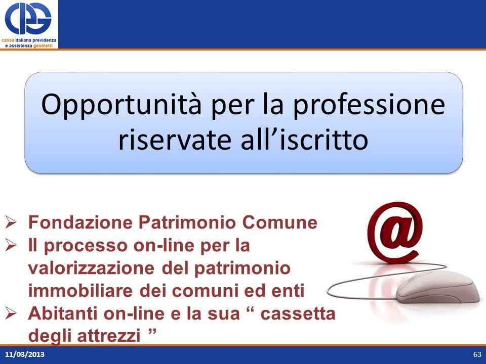 Opportunità per la professione riservate all'iscritto
