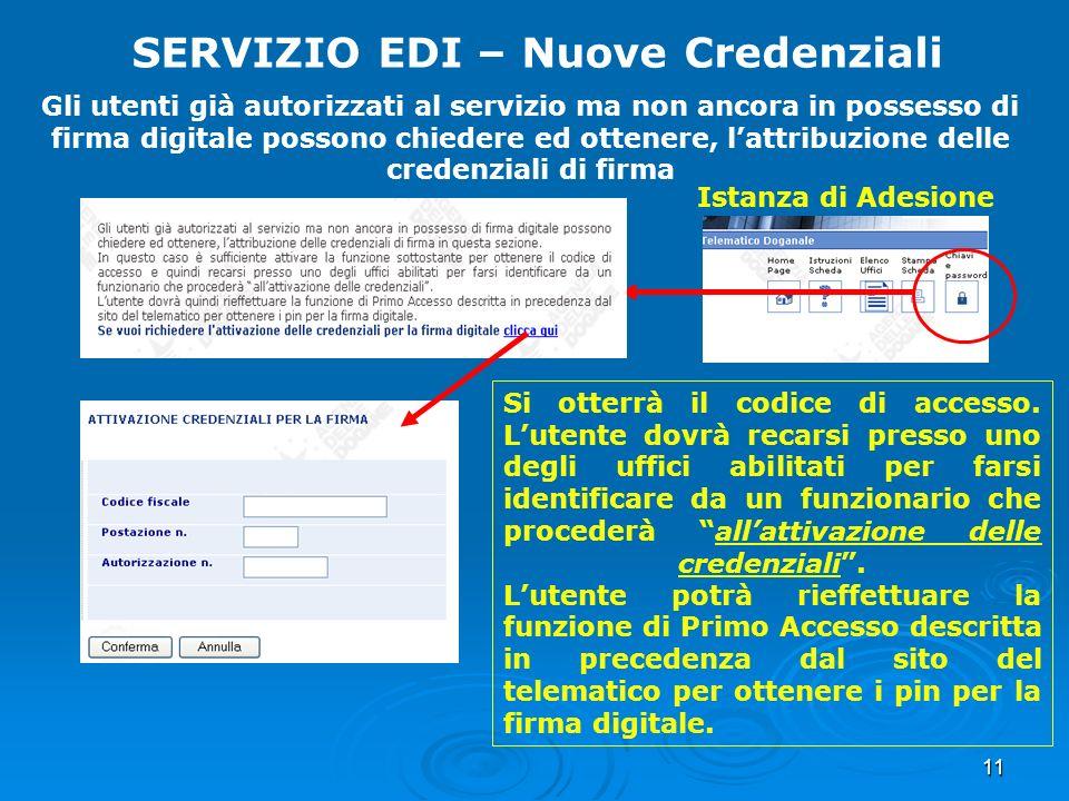 SERVIZIO EDI – Nuove Credenziali