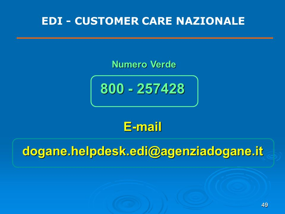 EDI - CUSTOMER CARE NAZIONALE