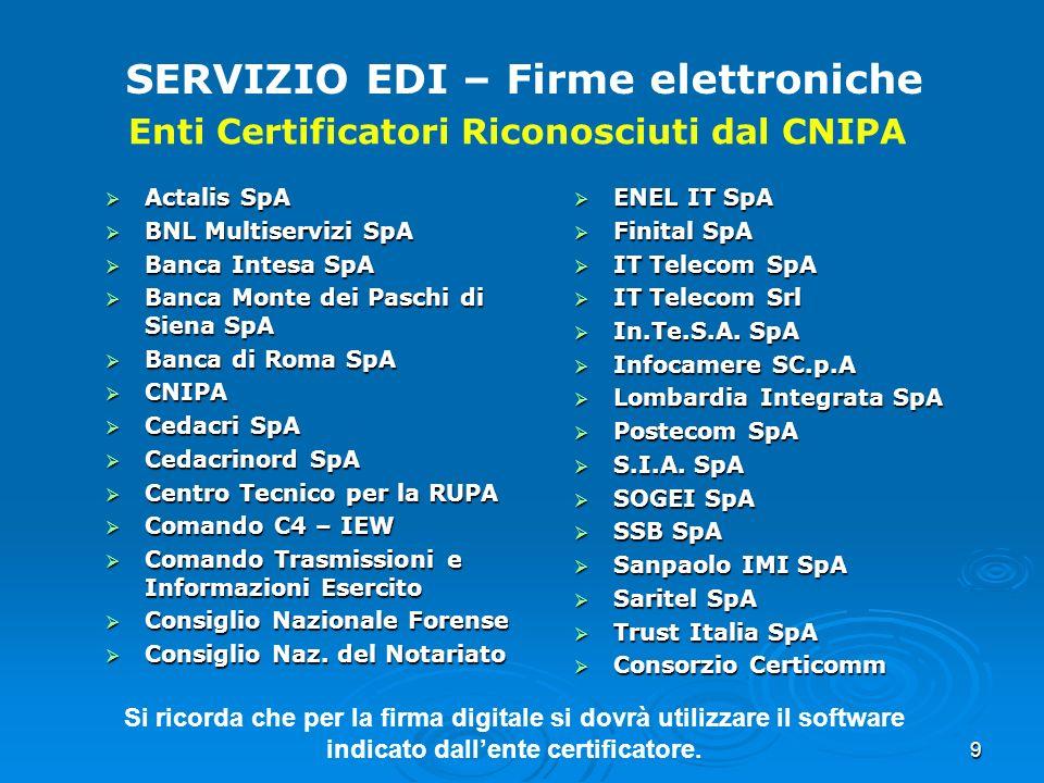 SERVIZIO EDI – Firme elettroniche