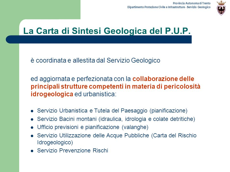 La Carta di Sintesi Geologica del P.U.P.